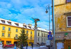 维尔纽斯,立陶宛- 2017年1月05日:共和国Uzupis,一个bohemic邻里天使在维尔纽斯 免版税库存照片
