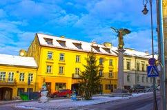 维尔纽斯,立陶宛- 2017年1月05日:共和国Uzupis,一个bohemic邻里天使在维尔纽斯 图库摄影
