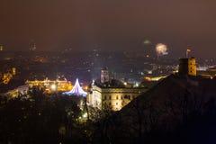 维尔纽斯,立陶宛2017年1月01日:对主要烟花的Beutifull视图,在对大教堂广场的新年晚上,钟楼 免版税图库摄影