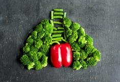 维护肺和心脏健康的有用的菜 库存照片
