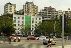维持大厦治安在三亚市旅游区  库存图片