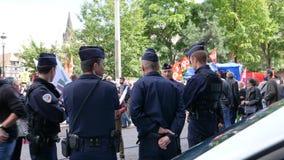 维持法国政治行军治安在一法国全国性天期间反对Macron劳工法 影视素材