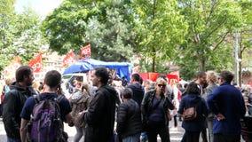 维持法国政治行军治安在一法国全国性天期间反对Macron劳工法 股票视频