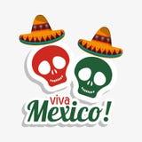 维瓦墨西哥头骨帽子设计 库存例证