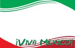 维瓦墨西哥!与墨西哥国旗的明信片 库存图片