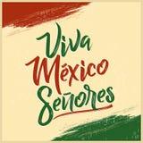 维瓦墨西哥Senores -维瓦墨西哥先生们西班牙文本,墨西哥假日 皇族释放例证