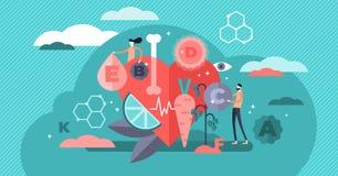 维生素传染媒介例证 平的微小的健康生活方式人概念 库存例证