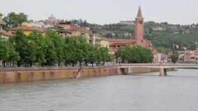 维罗纳和阿迪杰河,意大利看法  股票视频