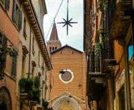 维罗纳意大利舒适和浪漫街道  库存照片