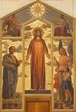 维罗纳-基督绘画的重点在大教堂圣芝诺的 图库摄影