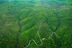 绵延山的鸟瞰图有绿色树、路和河的 库存图片