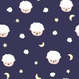 绵羊、月亮和星,婴孩可爱的无缝的样式,童年背景纹理传染媒介动画片的睡衣概念 库存例证