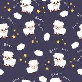 绵羊睡觉晚安背景织品动物动画片汇集背景传染媒介例证使用为孩子 向量例证