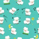 绵羊逗人喜爱的动画片,使用为孩子的动物汇集无缝的样式概念贴墙纸纹理抽象背景传染媒介 库存例证