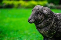 绵羊雕塑在绿叶的弄脏了背景,有选择性的fo 免版税库存图片