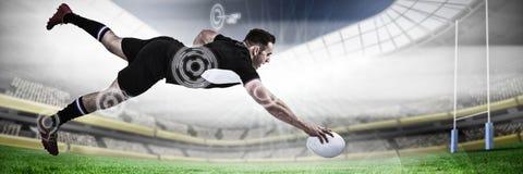综合图象的全长橄榄球球员计分的目标 图库摄影