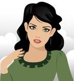 绿发黑眼睛的女孩 免版税图库摄影