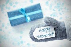 绿松石礼物,手套,发短信给愉快的周末,雪花 免版税库存图片
