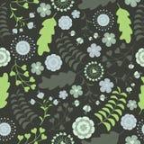 绿松石花纹花样在深绿背景的传染媒介设计 库存照片