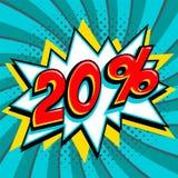 绿松石销售横幅的20百分之二十 在黄色轰隆形状和青绿色打旋的背景的红色数字 重婚 图库摄影