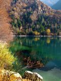 绿松石黄色森林在秋天包围的山湖 免版税库存图片