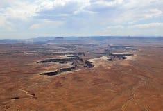 绿河乐队在峡谷地国家公园俯视 犹他 免版税图库摄影
