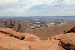 绿河乐队在峡谷地国家公园俯视 犹他 库存图片