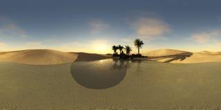 绿洲在沙漠, HDRI,环境地图,球状全景 免版税库存照片