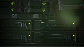 绿灯在数据商店闪动在服务器屋子 股票视频
