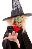 绿色万圣节可怕巫婆 免版税库存图片