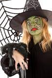 绿色万圣节可怕巫婆 库存图片