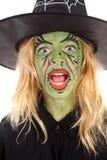 绿色万圣节纵向巫婆 免版税库存图片