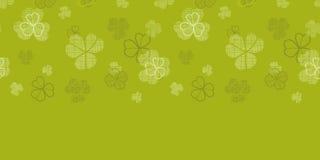 绿色三叶草纺织品纹理水平的边界 库存照片