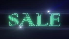 绿色与发光的轻的光学火光动画的lazer霓虹销售文本在黑背景-新的质量减速火箭的葡萄酒 库存例证