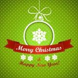 绿色与球的加点的圣诞节背景 皇族释放例证