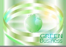 绿色企业背景Vector_Globe和丝带 免版税库存照片