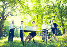 绿色企业队环境正面概念 库存照片