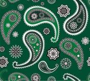 绿色伊斯兰佩兹利无缝的纹理向量 皇族释放例证