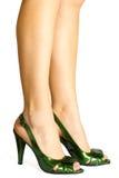 绿色停顿高皮革性感的鞋子短剑 免版税库存图片