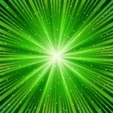绿色光芒星形 库存照片