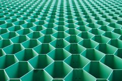 绿色六角形钢形状 库存图片