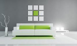 绿色内部最小的白色 免版税库存照片