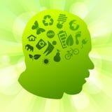 绿色剪影认为向量 免版税库存照片