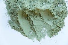 绿色化妆黏土纹理关闭 化妆黏土摘要背景的解答 免版税库存图片