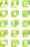 绿色医疗集贴纸 免版税库存照片