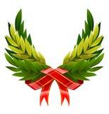 绿色叶子向量翼花圈 免版税库存照片