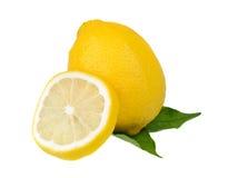 绿色叶子柠檬 免版税库存照片