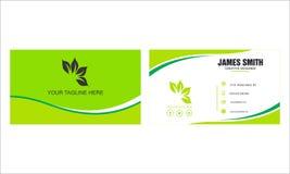 绿色名片设计与 库存例证