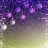 绿色和淡紫色圣诞节背景 免版税库存照片