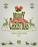 绿色和红色轻淡优美的色彩圣诞节标签  免版税图库摄影